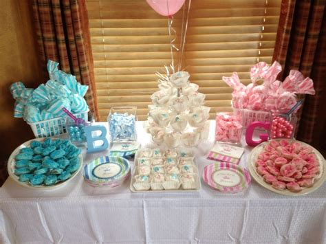 gender reveal table ideas gender reveal dessert table our parties and showers