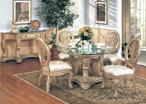 Antique White Dining Room Table by Emily Antique White 5pc Formal Dining Set 48 Quot Glass
