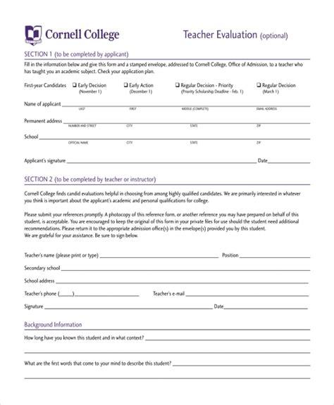 college teacher evaluation form sle teacher evaluation form 11 free documents in pdf