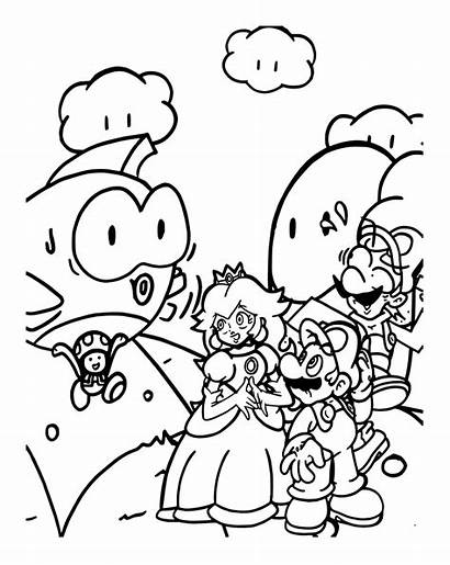 Mario Coloring Luigi Pages Peach Bros Princess