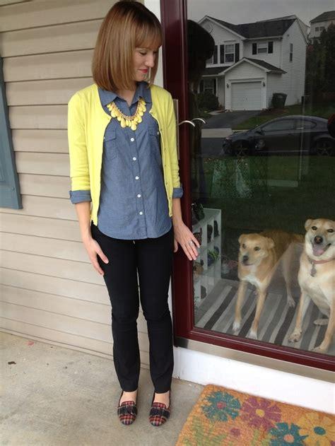Yellow cardigan chambray black skinnies u0026 plaid flats A Little Bit of WoWe | My Outfits ...