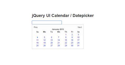 calendar datepicker jquery plugins