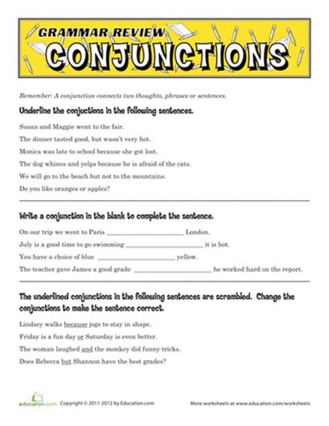 grammar review conjunctions fourth grade education