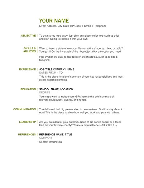 Simple Resume Template Microsoft Word by The Ultimate List Of Simple Free Resume Templates For