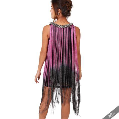 womens tassel fringe flapper dress sleeveless top bodycon