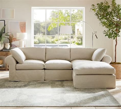 pb air slipcovered  piece sofa  chaise sectional