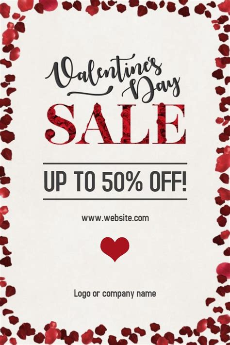 valentines day sale poster template click  customize