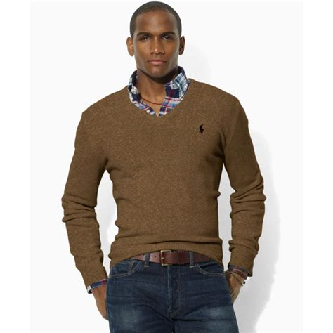 ralph polo sweaters ralph lambswool v neck sweater in brown for lyst