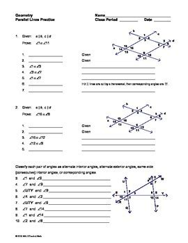 parallel lines and transversals worksheet pdf