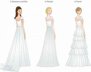 wedding dress skirt types shapes overlays and textures With wedding dress train types