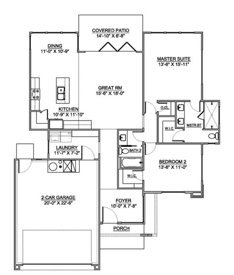 Modern Style House Plan 2 Beds 2 Baths 1417 Sq/Ft Plan