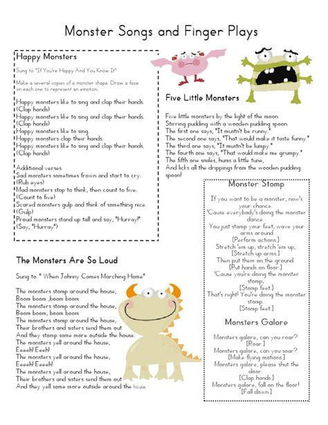 Mrs Home Ec Monster Lesson Plan …  Barb's Day Care Pinte…