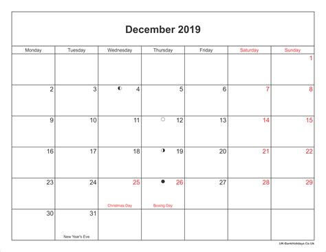 december calendar printable bank holidays uk