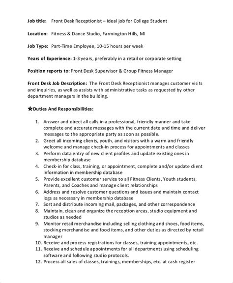 front desk customer service job description sle front desk job description 10 exles in pdf word
