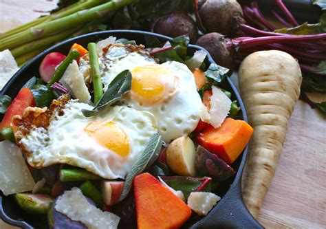 Recipe Duck Fat Root Vegetable Hash Topped With A Maple