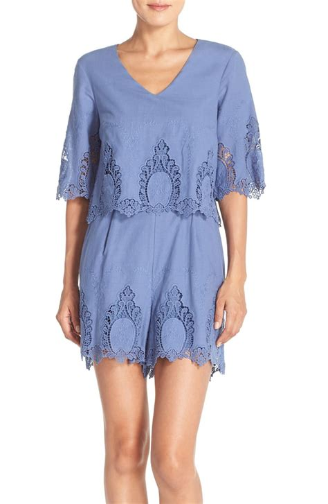 eci embroidered cotton romper nordstrom