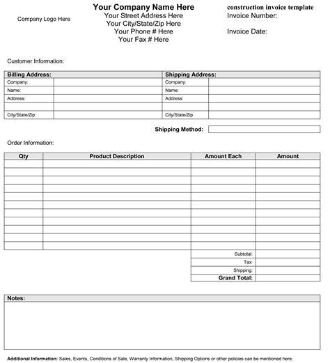 construction invoice template invoice