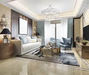 3d, Model, Modern, Living, Room, With, Luxury, Design