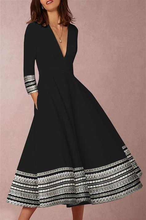 Print V Neck Half Sleeves A Line Midi Dress Regocy