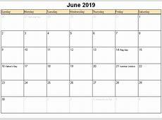 June 2019 Calendar monthly printable calendar