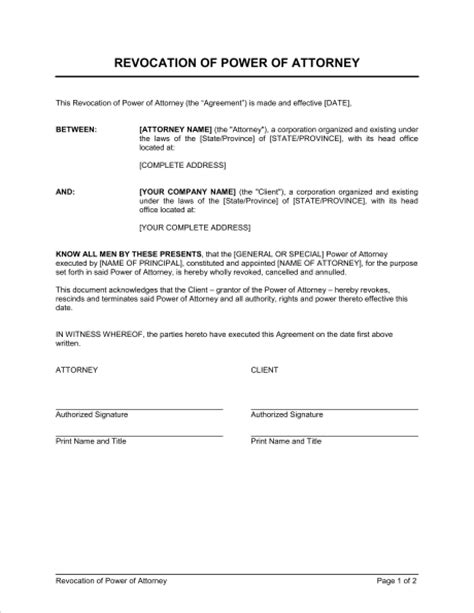 revocation  power  attorney template sample form