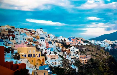 World Visits Tourists Place Santorini Colorful City Of