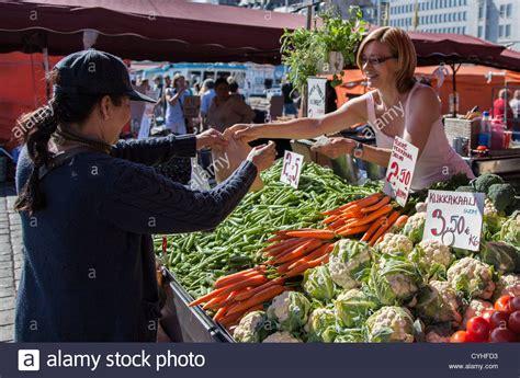 cuisine sold buying vegetables at market square in helsinki