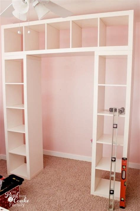 Bedroom Closet Shelving Units by Ikea Expedit Turned Into A Great Shelving Unit With Desk