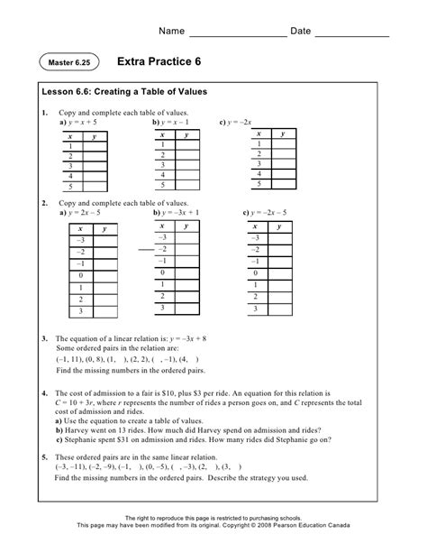 Linear Equations And Graphing  Extra Practice