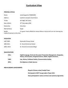Vitae Resume Format by Curriculum Vitae Sle Format