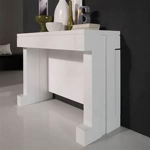 Table Console Extensible Laque Blanc Mobilier