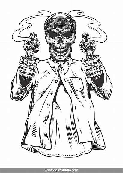 Gangster Skeleton Vector Skull Drawings Tattoo Chicano