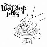 Pottery Poster Wheel Potters Hands Poterie Potter Drawing Terraglie Dello Delle Making Affiche Ceramic Mechanical Cartoon Sketch Embleem Template Jug sketch template