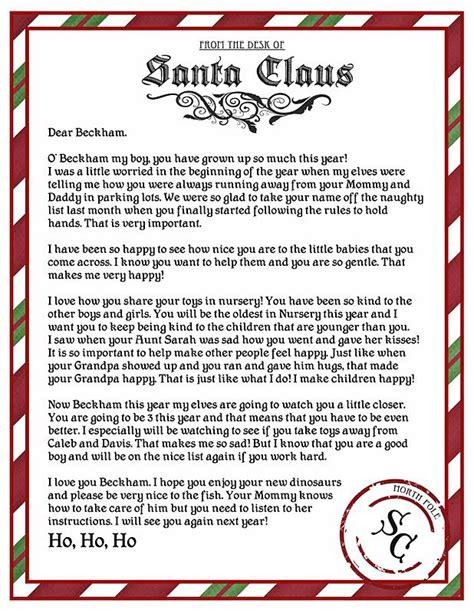 letter  santa printable christmas santa letter