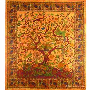 Orange indian dorm decor tree of life wall hanging
