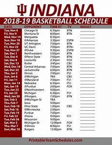 Printable Indiana Basketball Schedule 2018-19