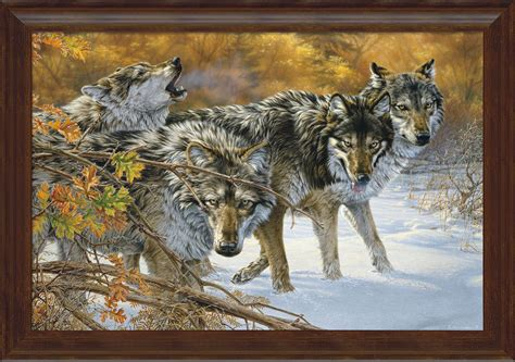body language timberwolf framed gallery canvas wild wings