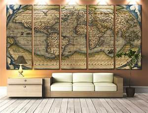 large wall art world map canvas print vintage world map With large wall art