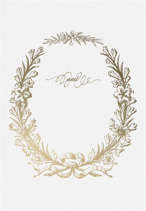 golden wreath wedding invitation template