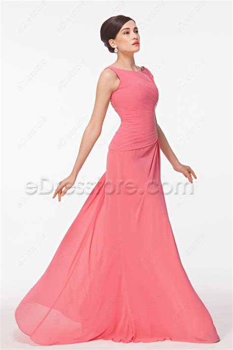 Boat Neck Dress Pink by Modest Boat Neck Beaded Pink Prom Dresses