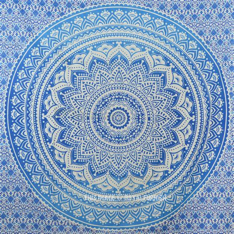 blue floral curtains small blue goddess ombre mandala tapestry floral wall