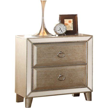 Gold Nightstand by Acme Voeville Nightstand Antique Gold Walmart