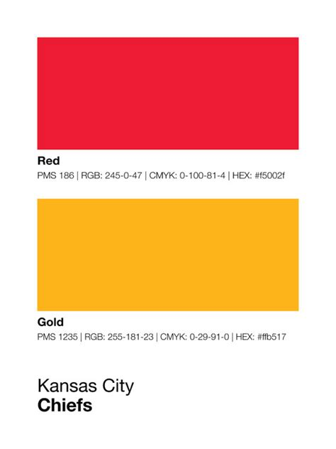 kansas city chiefs colors kansas city chiefs pantone poster nfl cave chief by