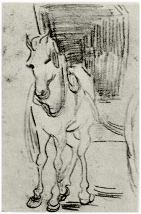 horse  carriage  vincent van gogh  drawing