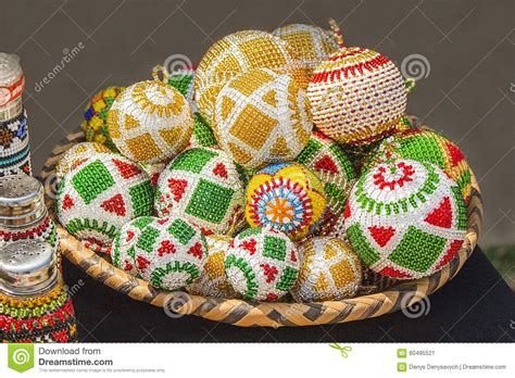 ideas for christmas decorting for south africa at school traditional colorful handmade bead toys balls decorations stock image