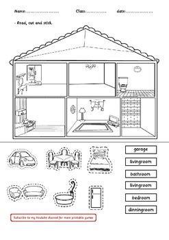house rooms decoration worksheet  digital