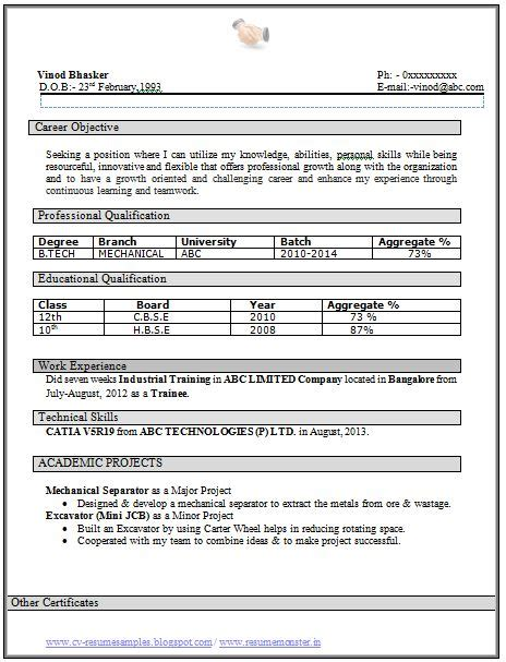 resume format for b tech mechanical freshers 759 best images about career on company