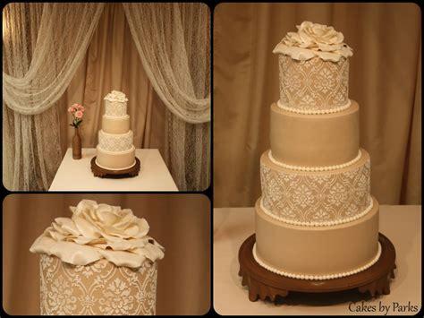 lace champagne wedding cake cakes  parks pinterest