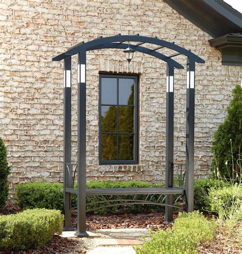Metal Arbors And Trellises by Metal Arbor With Led Lights And Bench Outdoor Living