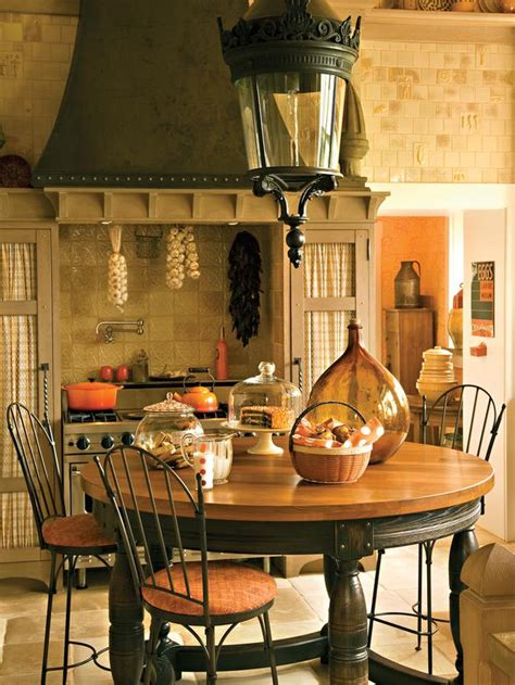 country kitchen table  antique lamp  warm orange